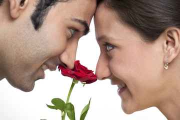 Close-up of young couple with red rose