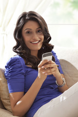 Portrait of a woman with a mobile phone