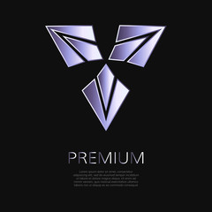 Metallic geometric shape. Gradient premium triangle sign. Business identity concept for user interface, web button, applications, apps. Futuristic UI sign.