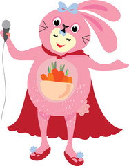 The cartoon vector of people wearing rabbit dress and  singing