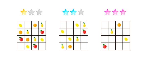 vector illustration. Sudoku for kids with pictures at different