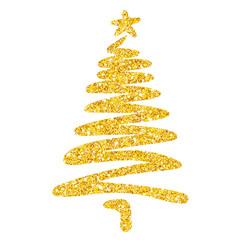 Weihnachtsbaum mit ein paar schnellen Linien locker skizziert – gold-glitzernd, Vektor, freigestellt