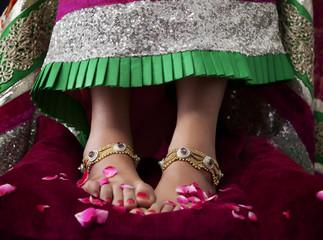Close-up of a bride's feet