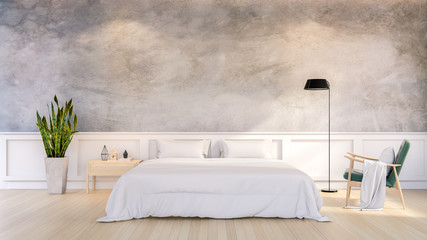 Minimalist Loft Design of Bedroom Interior,3d render