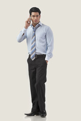 Young businessman having conversation on mobile phone