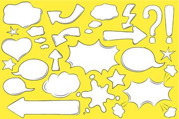White comic bubbles for text in pop art style. Retro message box vector clipart.