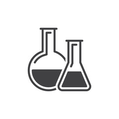 Chemistry lab glassware icon vector, filled flat sign, solid pictogram isolated on white. Science symbol, logo illustration. Pixel perfect vector graphics