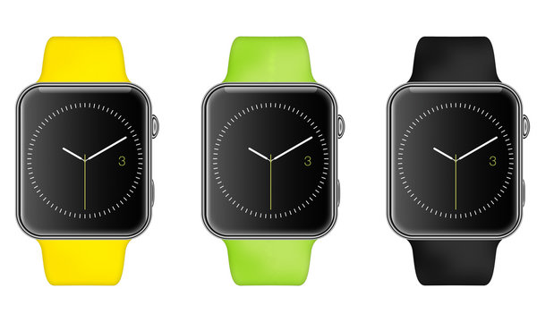 Trendy Colorful Raster Illustration of Aluminium Smart Watch with Smartwatch Interface show time