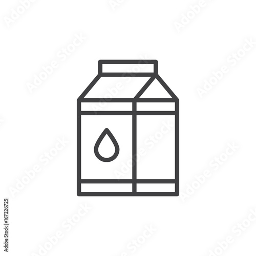Milk Carton Box Line Icon Outline Vector Sign Linear Style
