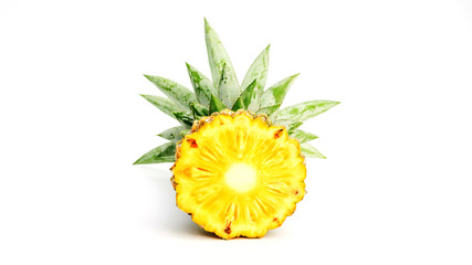 ripe pineapple on a white background.