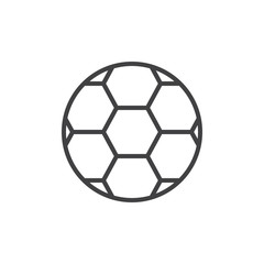 Soccer ball line icon, outline vector sign, linear style pictogram isolated on white. Football symbol, logo illustration. Editable stroke. Pixel perfect vector graphics