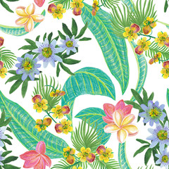 Watercolor seamless pattern with beautiful exotic hibiscus flowers on white background. Hand painting floral tropical pattern.