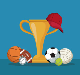 color background with hands holding a golden trophy cup and cap and elements sport