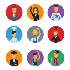 white background with colorful circular frame icons group people of different professions vector illustration