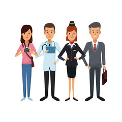 white background with group people of different professions vector illustration