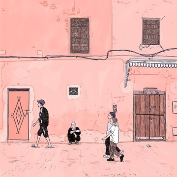 Illustration of people walking down street,Marrakech, Morocco