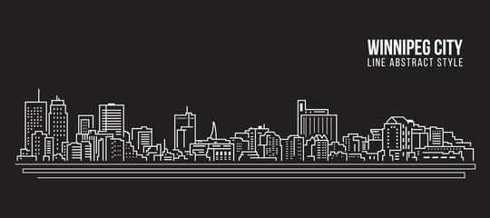 Cityscape Building Line art Vector Illustration design - Winnipeg city