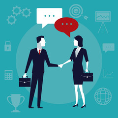color background business growth with business people taking hands and talk in text dialog vector illustration