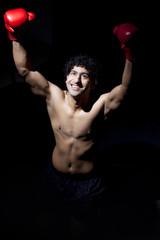 Male boxer enjoying success