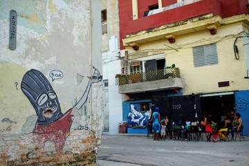 The picture shows a graffiti of Cuban artist Fabian Lopez in downtown Havana, Cuba