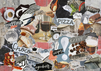 Atmosphere color red, orange, grey, brown, black and white mood board collage sheet made of teared magazine paper with food figures, letters, colors and textures, results in restaurant art
