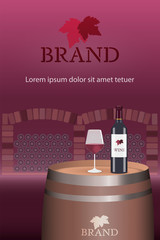 Brand. Wine bottle and glass on barrel with wine cellar. Logo and text. Red tones.
