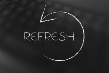 refresh symbol with text and arrow