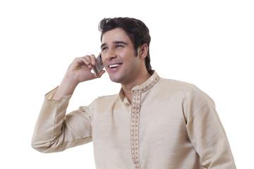 Bengali man talking on a mobile phone