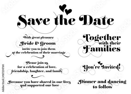 Wedding invitation wording vector calligraphy with swash and two wedding invitation wording vector calligraphy with swash and two hearts hand drawn lettering for stopboris Choice Image