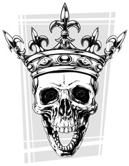 Graphic black and white human skull with crown