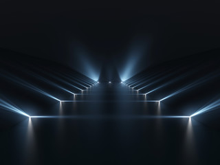Futuristic dark podium with light and reflection background Fotobehang