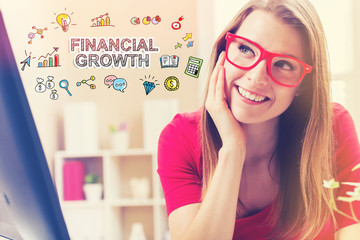 Financial Growth text with young woman in her home office