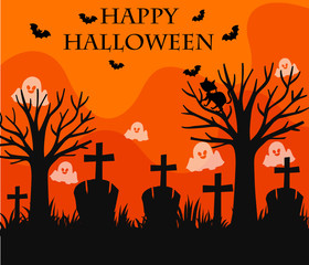 Happy Halloween card with graveyard scene