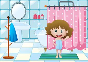 Girl taking shower in bathroom