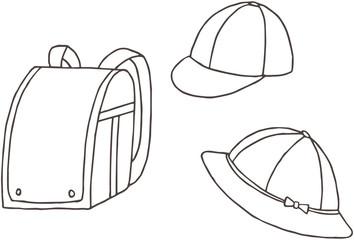 小学生の通学 ランドセル・通学帽 黄色い帽子