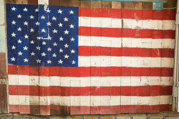 American Flag Painted on wood background