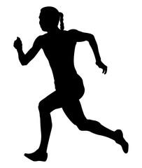 girl sprinter athlete fast running black silhouette