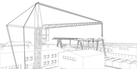 Industrial zone with buildings and cranes