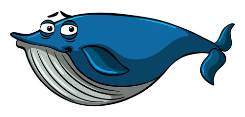 Blue whale with sleepy face