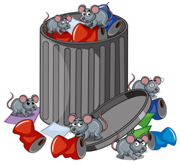 Many rats searching trashcan