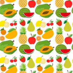 Seamless background with fresh fruits