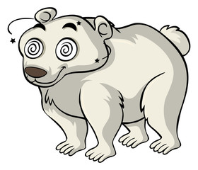 Polar bear with dizzy eyes