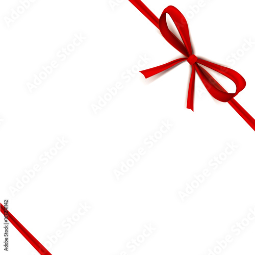 Luxury Thin Gift Bow With Red Knot Or Ribbon And Space Frame For Text