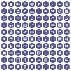 100 leisure icons hexagon purple
