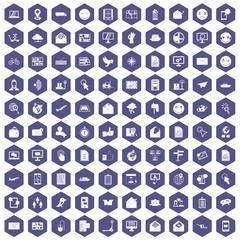 100 mail icons hexagon purple