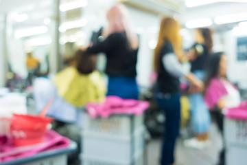 Blur of Beautiful Hair Salon , A Busy Day of Hair Dressers Wall mural