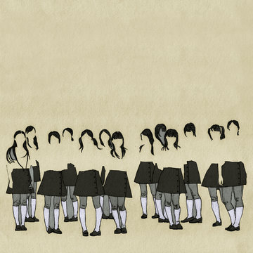 Faceless Japanese Schoolgirls