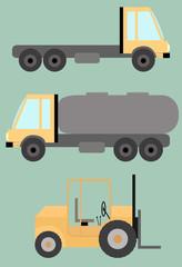 Set of Trucks, tank, lift machine, flat images