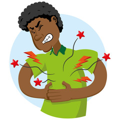Illustration of mascot Ben afro-descendant, with symptom of pain in the region of the stomach, belly. Ideal for medical and educational materials
