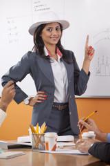 Portrait of female executive umpiring
